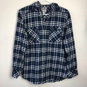 TNA Aritzia size S plaid boyfriend hooded shirt